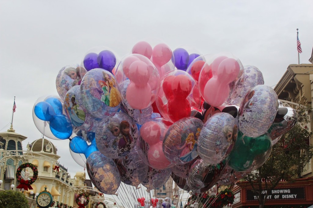Disney World Magic Kingdom During Christmas ballons
