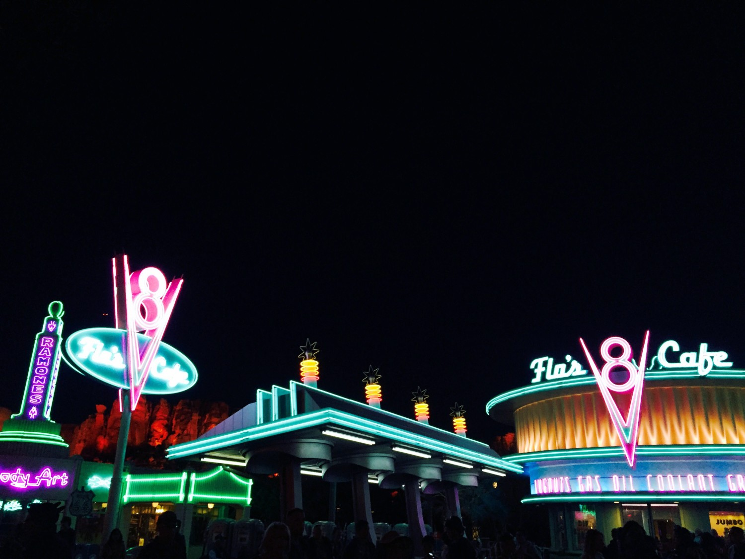 Disney California Adventure Carsland Radiator Springs at Night