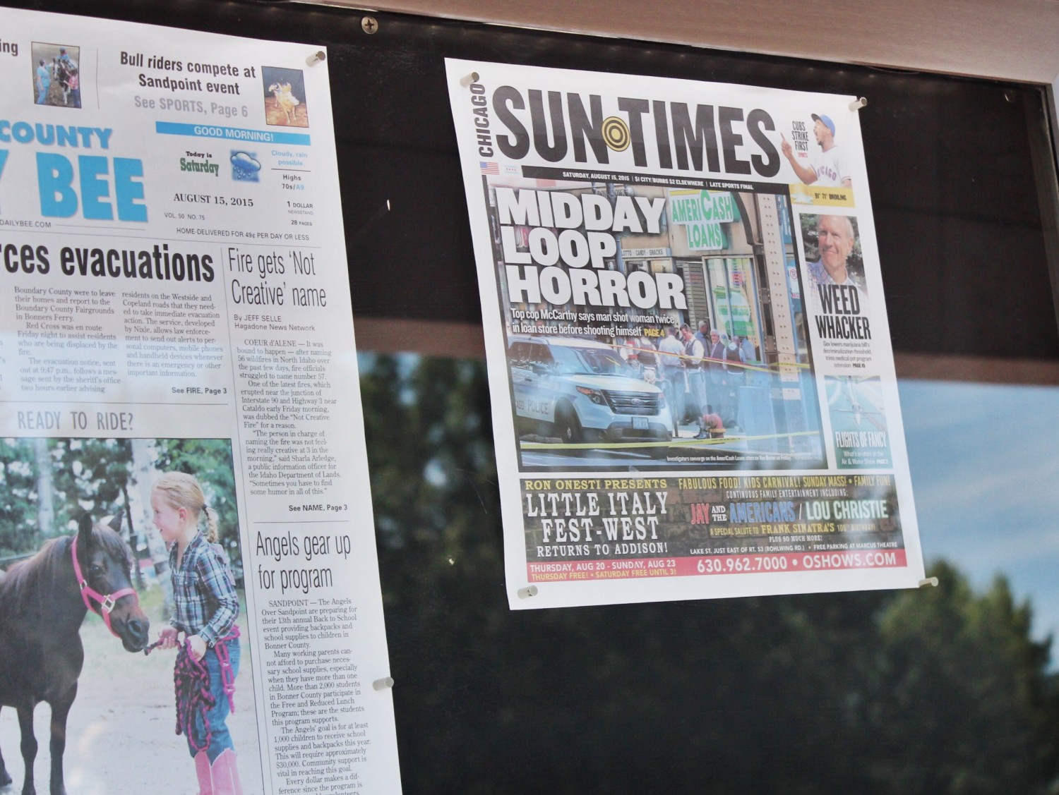 Today's Front Pages Newseum Chicago Sun Times