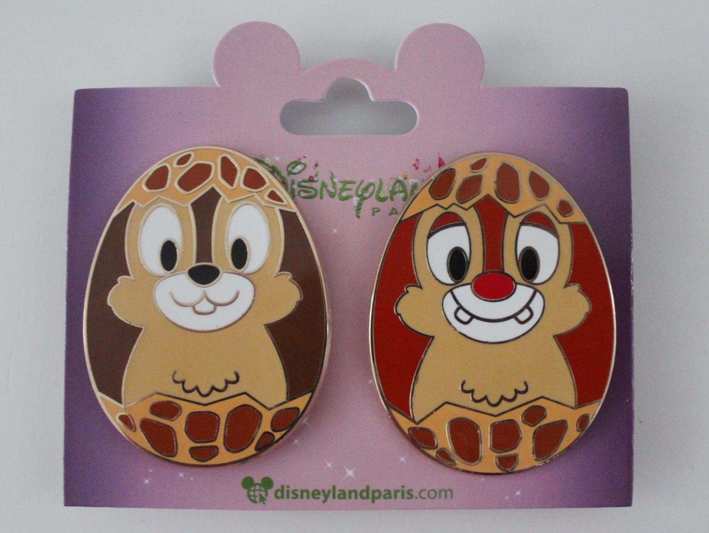 Disneyland Paris Chip 'n Dale Easter Egg Pin Set