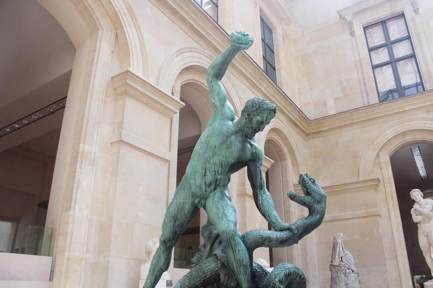 Hercules fighting a snake at the Louvre Museum