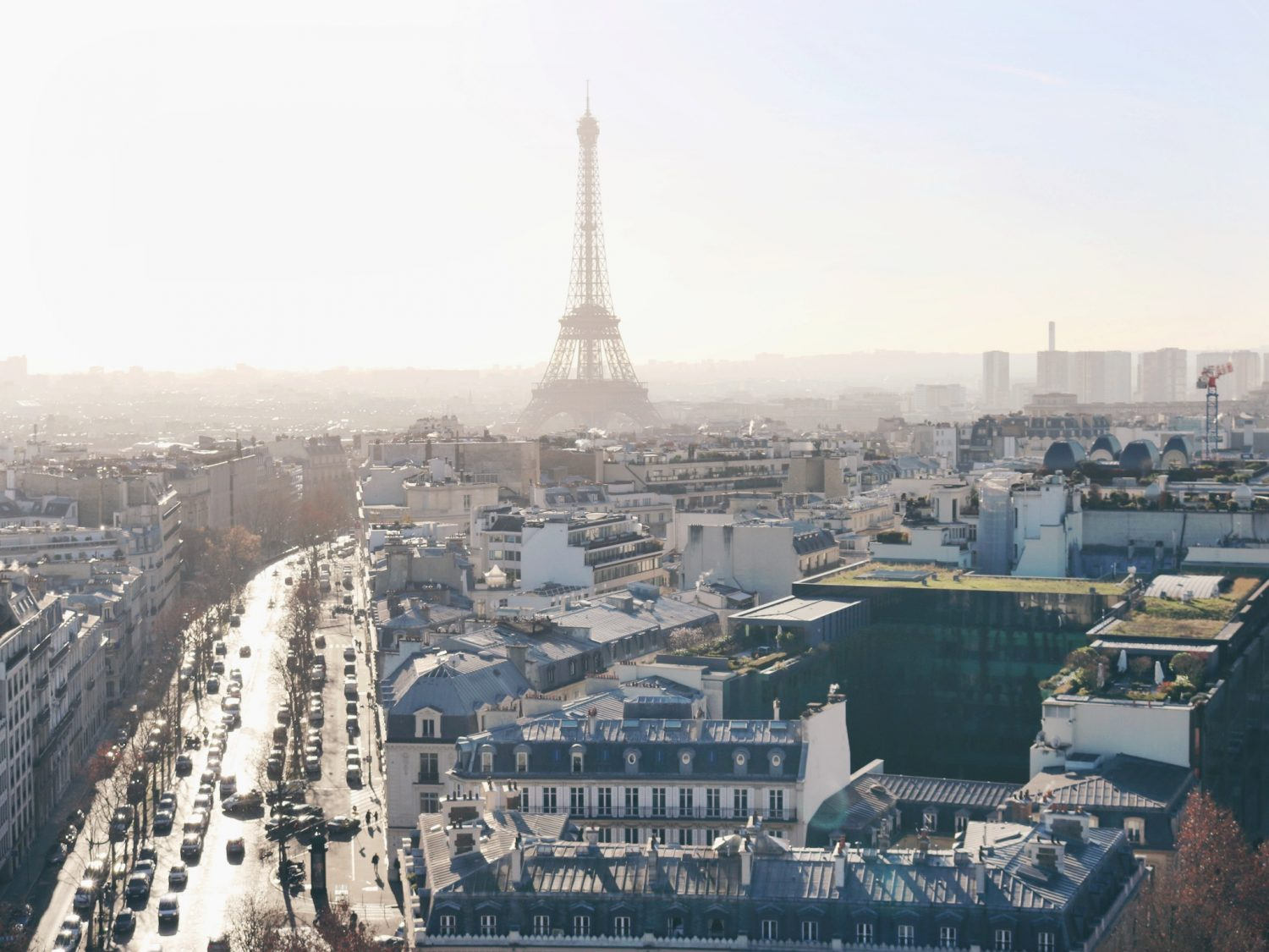Views of the Eiffel Tower from the Arc de Triomphe in Paris