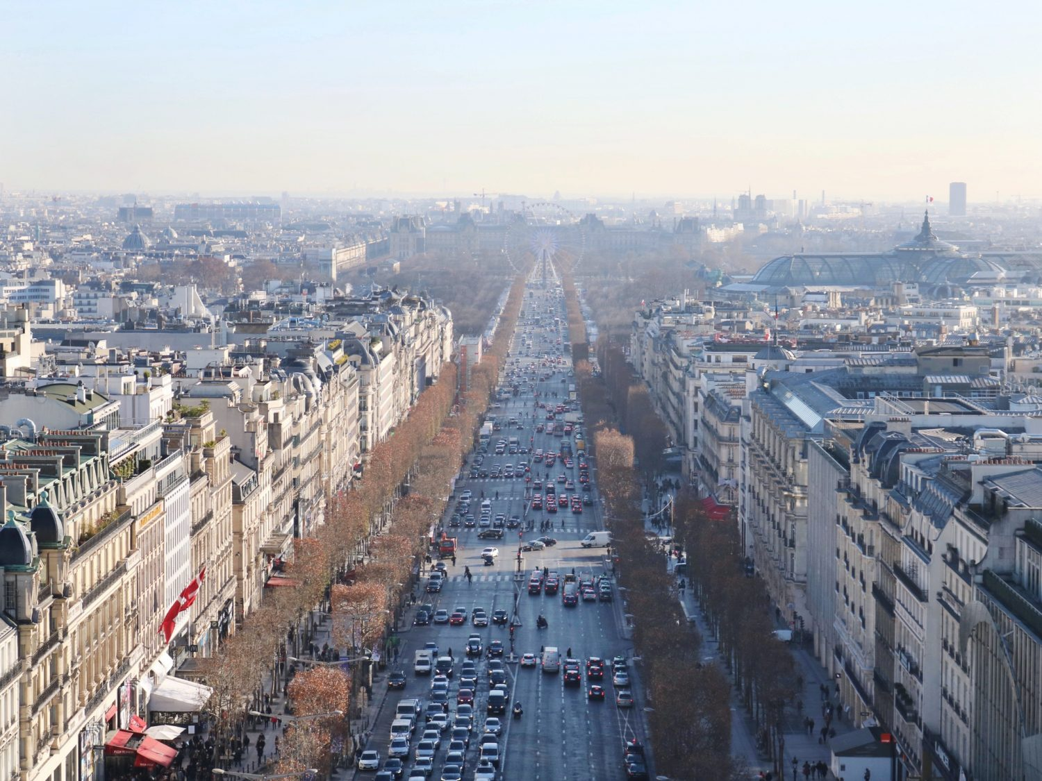 Viewing the Eiffel Tower from the top of the Arc de Triomphe