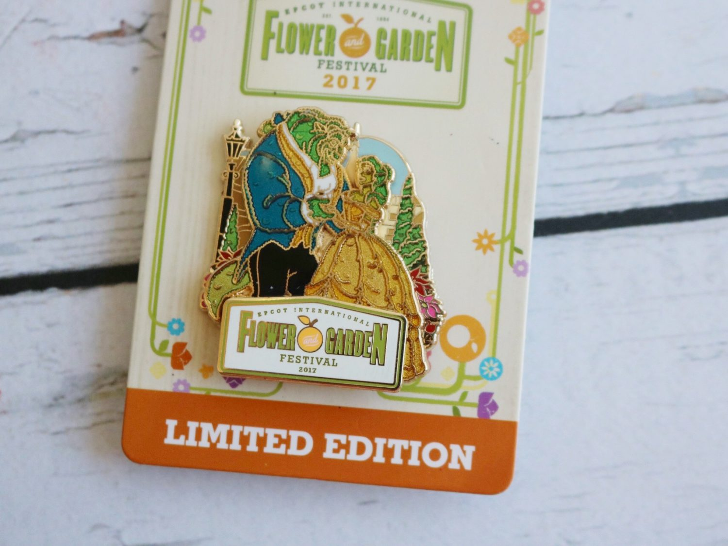 Epcot Flower and Garden Festival Beauty and the Beast Pin