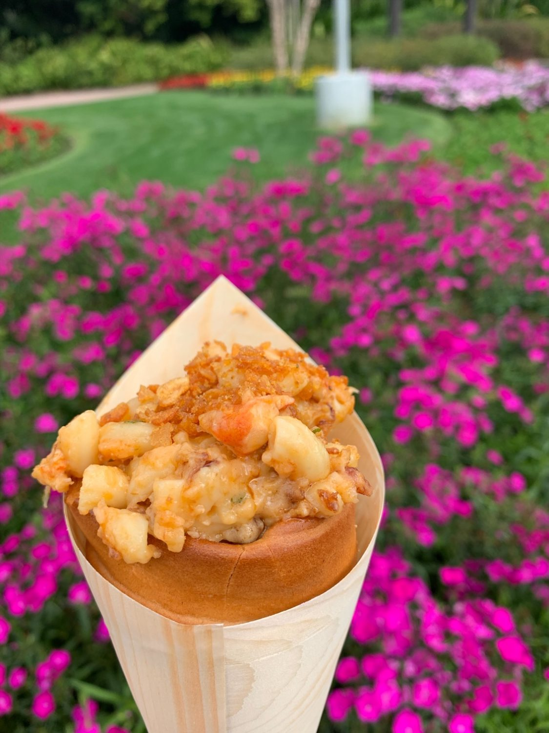 Epcot International Festival of the Arts Lobster Bacon Macaroni & Cheese served in a Warm Bread Cone