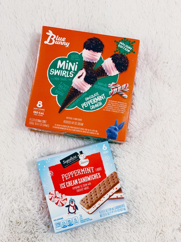 Blue Bunny Chocolate Peppermint Crunch mini ice cream cones