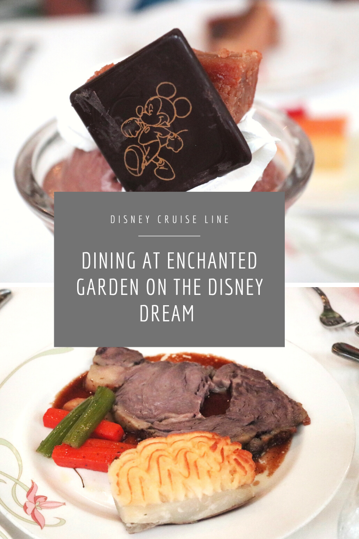 Dinning at Enchanted Garden on the Disney Dream Disney Cruise Line