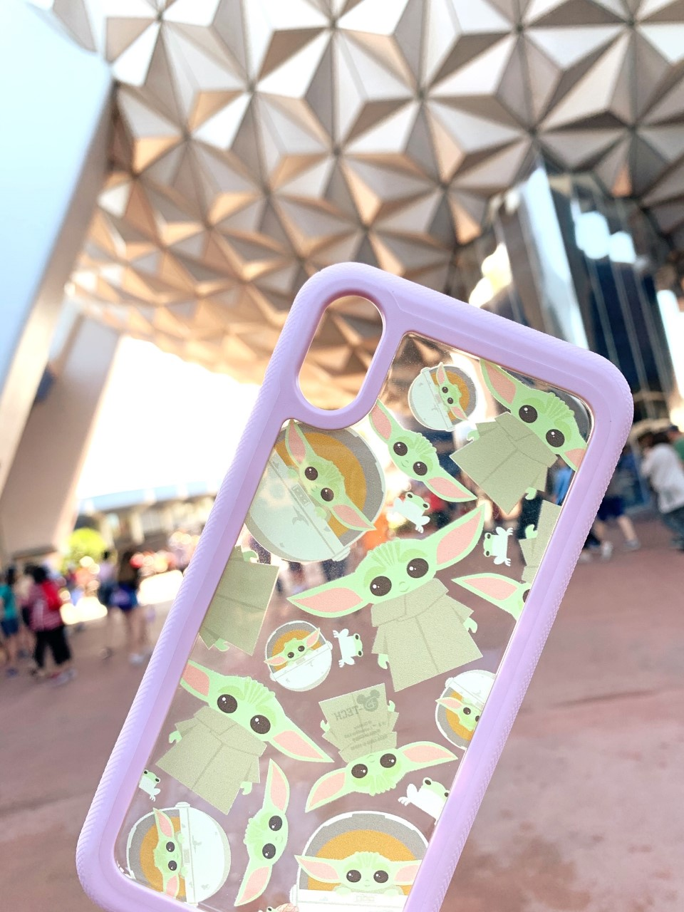 millennial pink Baby Yoda phone case Disney World